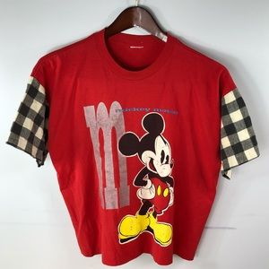 Vintage Mickey Mouse Red T Shirt Size XL